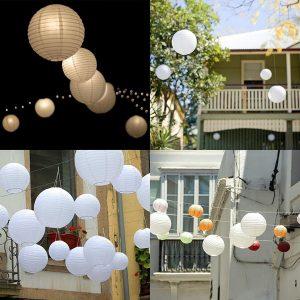 3 STYPPAR Vitrunda papperslyktor Kinesiska hängande dekorationer Dekorativa lyktor för bröllopsfestdekorationer