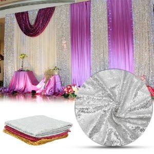 300x130cm Sparkle Paljettdukgardin för alla hjärtans dag bröllopdekorationer