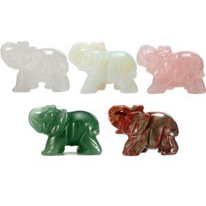 Snidade elefantficka Stenkristaller Statyett Healing Craft Home Ornament