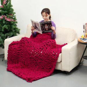 100x120cm handgjord stickad filt bomull mjuk tvättbar luddfri kasta filtar