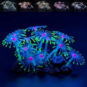 Fluorescent Silicone Aquarium Coral Plant Water Aquatic Fish Tank Ornament Decor Decorations