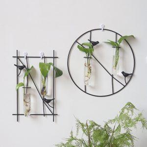 Enkel fågelmetallram Hängande planterare Hydroponic vägghängande dekorationer Växtbehållare med 2-rörs glasflaska