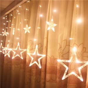 Honana HT-336 220V LED Light String Star Shape Curtain Light Home Decor Celebration Festival Wedding