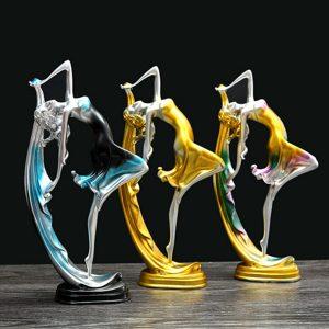 Elegant dansflickadekoration Harts Art Deco Skulptur Abstrakt staty dekorationer