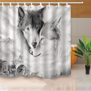 Custom Wolf Shower Curtain Art Print Pattern Shower Curtain Bathroom Decoration Curtain