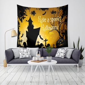 Loskii LWG5 Halloween Tapestry Pumpkin Print Hanging Tapestry Wall Art Home Decor Halloween Decorations For Home