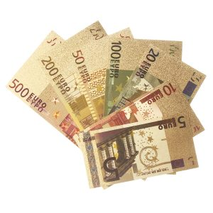 Eurosedlar Räkningar Sedlar Guldfolie Valuta Papperspengar Hantverk Samling Dekorationer