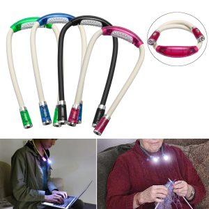 LED Neck Light Battery Operated Knitting Crocheting Lamp Book Reading Light