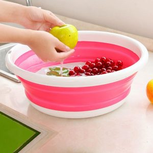 Honan Portable Folding Silicone Fruit Basin Container Multi-Functional Vegetables Fruit Basin Washing Tool Washbasin Water Basin Space Saviilicng Durable Water Bucket Water Holder Kitchen Accessories