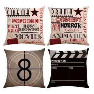 4PCS Linen Sofa Car Home Movie Theater Cinema Pillow Case Cushion Cover