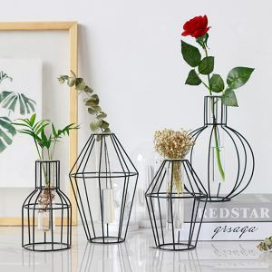 3D Nordic Metal Vase Glass Tube Hydroponic Plant Container Ornaments Home Decor