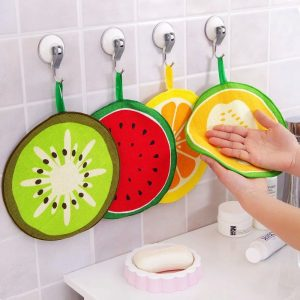 Honana 4Pcs Fruit Pattern Towel Absorbent Cloth Kitchen Towel Handkerchief Quick-Dry Cleaning Rag Dish Cloth Wiping Napkin