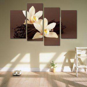 2X40CM 2X60CM Brun orkidé Blommor Canvas Print Bilder Målerier Dekor Oramat