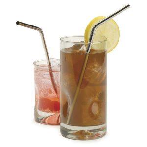 Rostfritt stål böjd dricksug halm återanvändbar kaffe cocktail halm