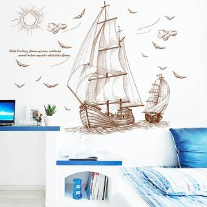 47''x35 '' Stort piratfartyg som seglar väggklistermärke Vinyl PVC-dekaler Art Home Decor