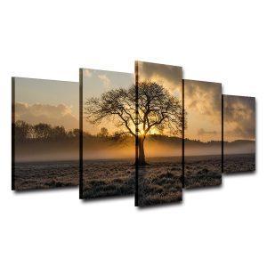 5Pcs Set Modern Canvas Print Paintings Wall Five Couplets Sunrise Art Picture Home Decoration Unframed