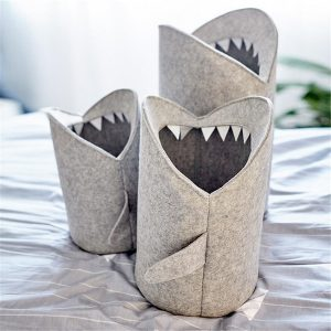 Kids Cartoon Folding Felt Shark Laundry Hamper Toy Storage Baskets Storage Box Bin