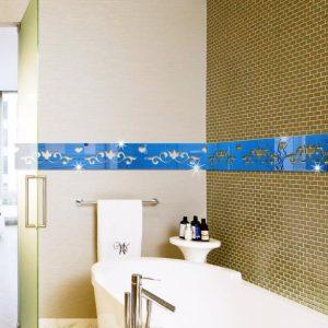 3D flerfärgad golvlinje Silver DIY-form Mirror Wall Stickers Home Wall Bedroom Office Decor