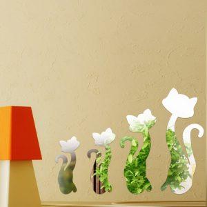 Honana DX-Y3 4Pcs Cute Silver DIY Sexy Cat Mirror Wall Stickers Home Wall Bedroom Office Decor