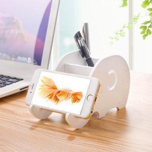 DIY bärbar borttagbar tecknad telefonhållare Elephant Desktop Flat Stand Stationery Storage Boxes