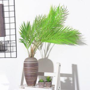 6/9 Grenar Gröna palmblad Plast Fake Plant Konstgjorda löv Heminredning Dekorationer