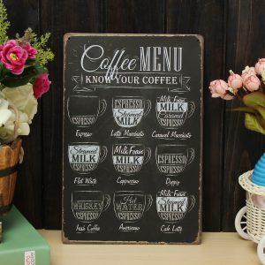 Kaffemeny Plåtträning Metallmålning Tenn Cafe Wall Tavern Poster Sign