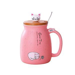 Cat Kitten Ceramic Coffee Mug Tea Milk Water Cup W/Handle + Spoon + Lid 420ML
