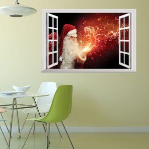 Christmas 2017 Christmas Tree Santa Claus Gift Fireworks Night View 3D Wall Stickers