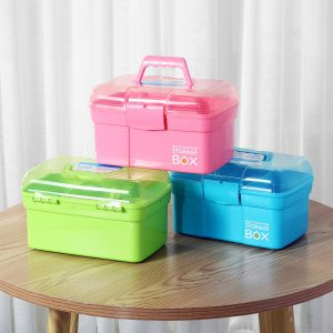 27×17×17cm Mini HandHeld Double Deck Manicure Tools Storage Case Box Parts Storage Box