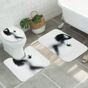 3Pcs/Set Bathroom Rug Mats Female Shadow Anti-slip Carpet Shower Toilet Rug Floor Mat