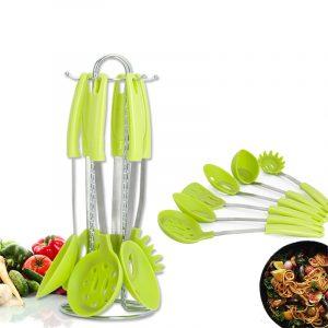 6 delar rostfritt stål silikon matlagning redskap set med premium stativ matlagning sked spat soppa slev sil sil köksmaterial