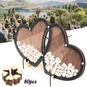 Wedding Guest Double-Heart Signature Sign Book Wooden Wood Party Decorations
