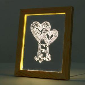 KCASA FL-724 3D Photo Frame Illuminative LED Night Light Wooden Heart Desktop Decorative USB Lamp For Bedroom Art Decor Christmas Gifts
