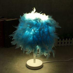 Colorful Feather Shade Table Lamp Bedside Desk Lamp Night Light Home Decor Gifts