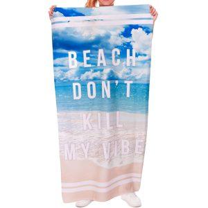 70x140cm Polyesterfiber Engelska ord Mönster Strand Spa Yogahandduk Mjukt reaktivt tryck Handdukar
