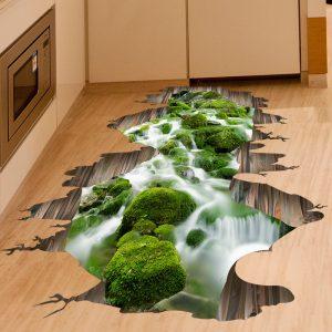 3D Stream Floor Decor Wall Sticker Removable Mural Decals Vinyl Art Home Decoration