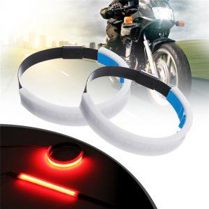 2 x Motorcycle LED Fork Light Strip Turn Signal Daytime Running Lamp White Night Light