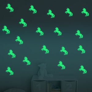 Honana DX-126 10PCS 7X10CM Fluorescent Glow Unicorn Wall Sticker Home Bedroom Decor
