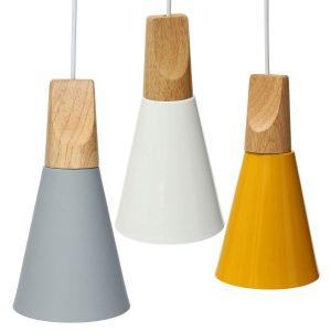 Vintage trä europeisk stil lampskärm pendellampa aluminium taklampor lampskärmar