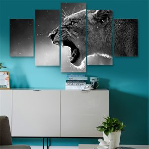 5 paneler HD Canvas Wolf Tiger Paintings Tryck Hemrum Oramat bildkonst Väggdekor