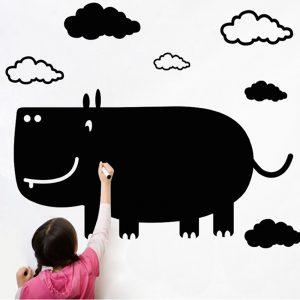 Creative Cartoon Rhino Blackboard Wall Stick For Kid's Room DIY Wall Decals Wall