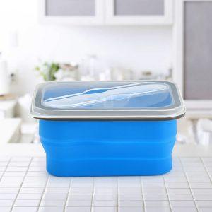 KCASA KC-FY02 hopfällbar silikon Lunchbox BPA Gratis hopfällbar Bento matbehållare med servis
