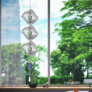 3D Metal Hanging Silent Wind Spinner Chime Home Garden Window Decor Kid Gift Wind Chimes