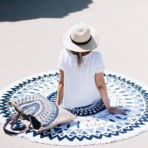 150 cm tunna polyesterfiberstrandyoghandduk Rund sängkläder tapetduk