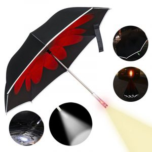 KCASA UB-3 Double Layer Reverse Umbrella Reflective SOS LED Windproof Auto Open UV Protection Umbrellas