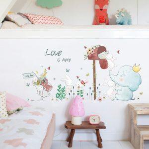 Miico SK7185 Elefant- och kaninmålning-klistermärken Barnrum och dagis Dekorativ väggklistermärke