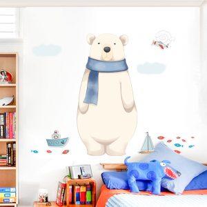 Miico FX82027 2PCS Cartoon Wall Sticker Cute Polar Bear Printing Children's Room And Kindergarten Decorative Stickers