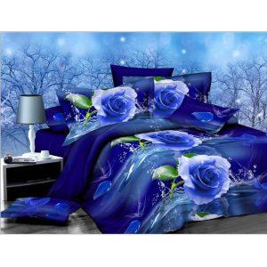 2 STKS 3D Blue Rose-tryckt sängkläder kuddeöverdrag täcke Tvåbäddsstorlekar