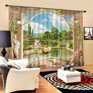 2 Panel 3D Printed Landscape Window Curtain Door Bedroom Valance Divider Sheer Curtains