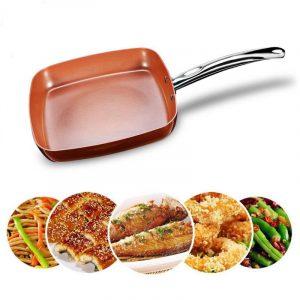 Non-stick Copper Square Pan med keramisk stekpanna kopparugn